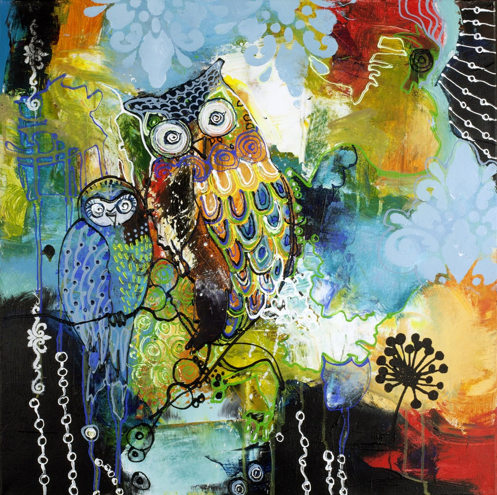 BLUE OWL - Original Paintings - size 100x100cm